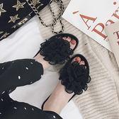 拖鞋 甜美花朵拖鞋女士室外平底一字海邊沙灘鞋涼拖鞋 巴黎春天