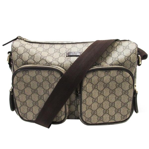 GUCCI 古馳 棕色PVC材質拼牛皮肩背斜背包 Front Pocket Bag 246881【BRAND OFF】