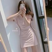 鬼馬少女夏韓國復古甜美洋氣減齡蜜桃polo領收腰短袖小個子連衣裙  【夏日新品】