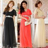 中大尺碼~奧鑽石荷葉袖顯瘦長版晚禮服連衣裙 ( F~3XL)