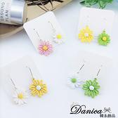 現貨 韓國少女風森林系氣質甜美花朵不對稱垂墜耳環 夾式耳環 S93696 批發價 Danica 韓系飾品