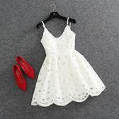 2018夏新款女裝歐洲站新款時尚名媛燒花蕾絲修身吊帶小洋裝蓬蓬裙