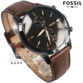 FOSSIL 個性雙環錶 計時碼錶 不銹鋼 黑面 IP黑電鍍 咖啡色皮帶 男錶 FS5437