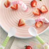 彎頭勺寶寶歪把可彎曲餐具套裝輔食矽膠軟勺【聚可愛】