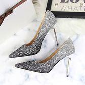 婚禮銀色漸變高跟鞋亮片尖頭婚鞋伴娘婚紗鞋水晶鞋女鞋年會宴會  WY1612  【雅居屋】