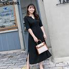 中大尺碼 雪紡氣質純色V領洋裝~共兩色 ...