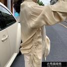 側面抽摺設計蜜桃絲口袋襯衫 Z11213   【全館免運】