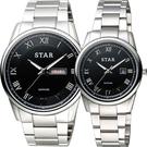 STAR 時代 羅馬城市時尚對錶/情侶手錶-黑x銀/43+32mm 1T1512-211S-D+1T1512-111S-D