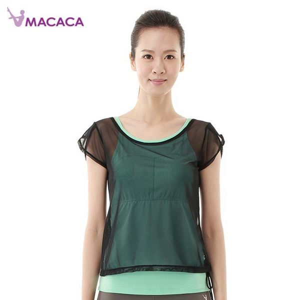 【MACACA】花苞纖瘦2in1上衣- AXG2122(湖水綠/黑網) (瑜伽/韻律/休閒)