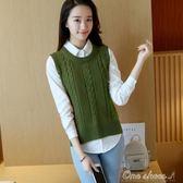 韓版毛衣背心馬甲女針織衫無袖圓領套頭坎肩寬鬆潮 早秋最低價促銷