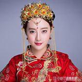 中式新娘古裝頭飾秀禾服飾品婚禮結婚流蘇髮飾盤髮造型鳳冠 溫暖享家
