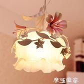 單個頭小吊燈鐵藝韓式田園風格花草花朵創意樓梯間餐廳陽台長吊燈 igo摩可美家