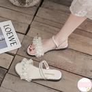 仙女風涼鞋女夏平底韓版百搭時尚網紗珍珠配裙子溫柔鞋【萌萌哒】
