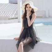 新款連體裙式溫泉泳衣女遮肚顯瘦保守小胸聚攏性感小清新泳裝