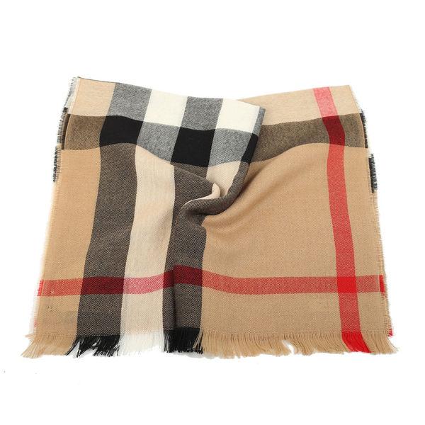 BURBERRY 經典格紋喀什米爾羊毛混紡流蘇圍巾(駝色)