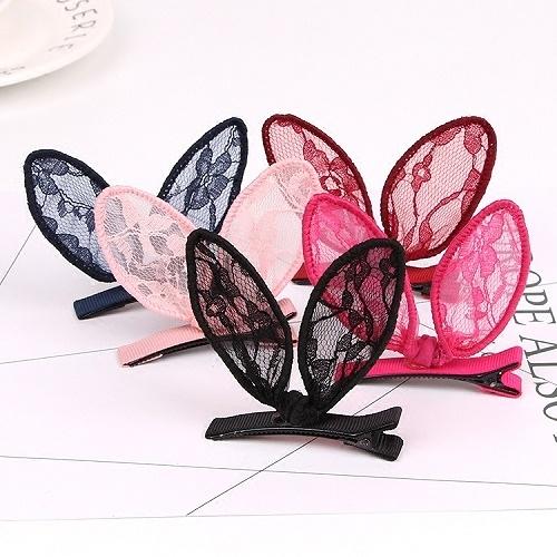 【NiNi Me】韓系髮飾 可愛兔耳朵蕾絲蝴蝶結鴨嘴夾髮夾 髮夾H9334