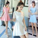 中大尺碼蕾絲洋裝 2018夏季新款女裝收腰白色蕾絲連身裙修身顯瘦韓版A字裙子中長款