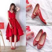圓頭結婚鞋子女新娘鞋2018新款紅色中式結婚鞋女秀禾鞋高跟粗跟 【PINKQ】