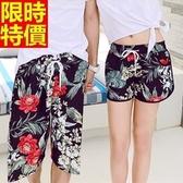 情侶款海灘褲(單件)-防水衝浪紅花綠葉熱情外放男女沙灘褲66z16【時尚巴黎】