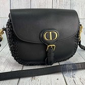 BRAND楓月 Christian Dior 迪奧 黑色 皮革編織拼接 CD LOGO 金釦 BOBBY 斜背包 中款