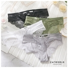 Catworld 輕奢緞帶後透膚蕾絲低腰內褲【18805472】‧F