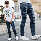 牛仔褲 韓國製深藍刷色小抓破彈性合身牛仔...