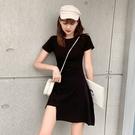 素色不規則修身連身裙-媚儷香檳-【D1506】
