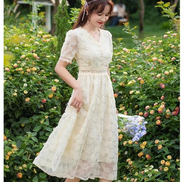 華麗網紗鑲亮片花朵宴會洋裝短袖小禮服[88006-QF]美之札
