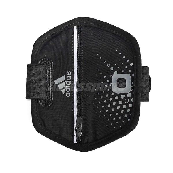 adidas 臂套 Run Arm Pocket 男女款 健身房 慢跑 臂袋 手機孔 耳機 收納 反光 黑【ACS】 W63842