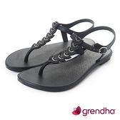GRENDHA 東洋風情平底涼鞋-黑色