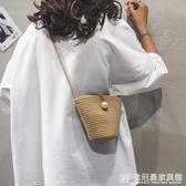 森系編織水桶包包女包新款2020夏天草編包跨包韓版百搭單肩斜挎包 『歐尼曼家具館』