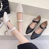 尖頭鞋.知性優雅瑪莉珍魔鬼氈低跟包鞋.白鳥麗子