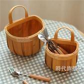 (交換禮物)野餐籃日式手工編織木片帶提手籃子藤編收納籃野餐面包籃水果籃儲物掛籃XW