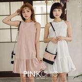洋裝 素面拼接娃娃裝連身傘裙洋裝 - PINK CHIC - 33124
