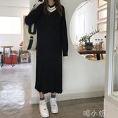 拼接V領長袖針織衫連衣裙寬鬆顯瘦中長款毛衣裙  喵小姐