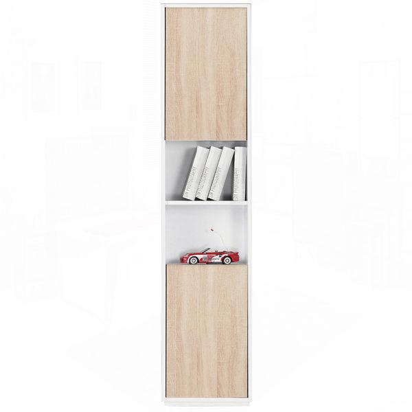 布拉格1.35尺白色橡木紋二門中空書櫃﹝18JF/378-2﹞/ H&D東稻家居