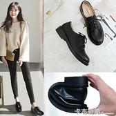 小皮鞋女英倫復古平底布洛克單鞋百搭粗跟黑色工作鞋