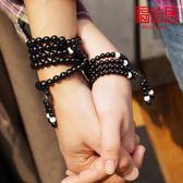 福佑居飾品天然水晶黑瑪瑙手鍊108顆佛珠手串 情侶手飾韓版多層女