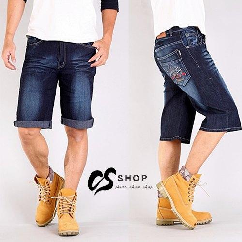 CS衣舖 造型刷色 立體刺繡 彈力丹寧 牛仔六分褲 牛仔褲 短褲 58010