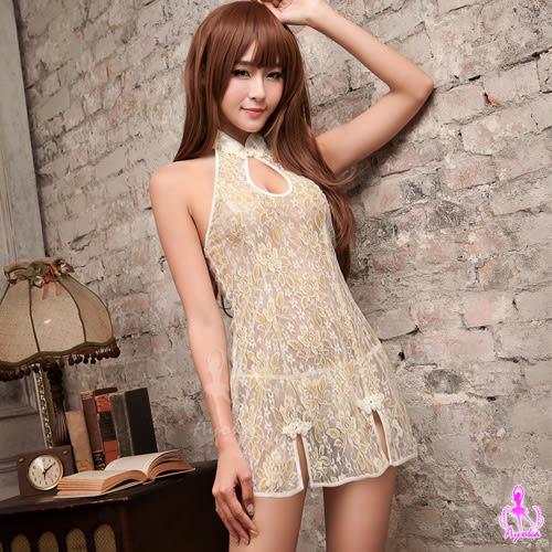 情趣用品 女性商品 復古金黃色蕾絲薄紗改良式旗袍服 2件組(情趣洋裝+丁字褲)角色扮演服