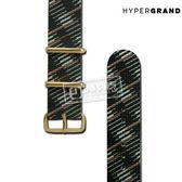 HyperGrand / NS01RAPIGB / 圖騰印花金扣尼龍錶帶 黑綠色 20mm