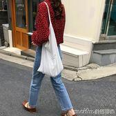 ins同款簡約帆布包女韓國ulzzang學生原宿風單肩斜挎包手提環保袋 美芭