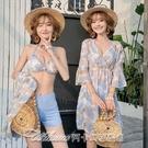 新款泳衣女性感比基尼分體三件套保守遮肚仙女範韓國泡溫泉游泳裝 阿卡娜