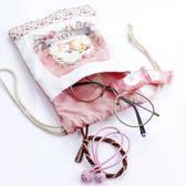束口袋小布袋抽繩袋迷你可愛卡通學生帆布手