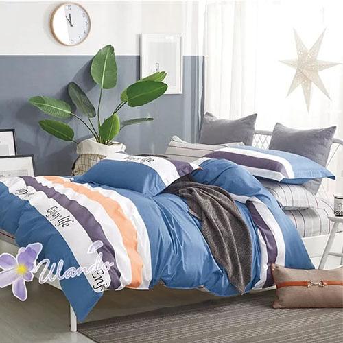精梳棉四件式被套床包組 標準雙人-1組 (享受生活-藍) 4947354001 【KP01015】99愛買生活百貨