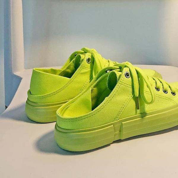 半拖鞋 可踩無後跟綠色帆布鞋女半拖泫雅風韓版學生百搭ulzzang網紅板鞋 格蘭小舖