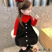 女童燈芯絨連身裙秋冬公主寶寶吊帶背帶裙子【淘夢屋】