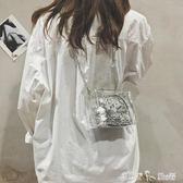 透明包包女新款單肩斜背包亮片手提小方包果凍包honey蹦迪包 潔思米