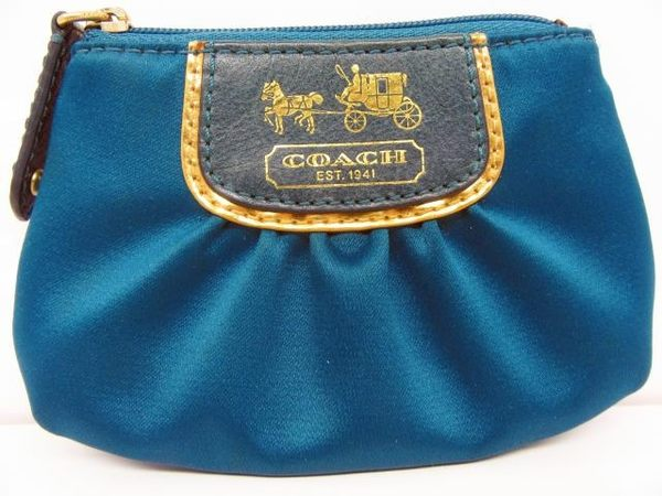 COACH 藍色緞面馬車鎖匙零錢包 【BRAND OFF】