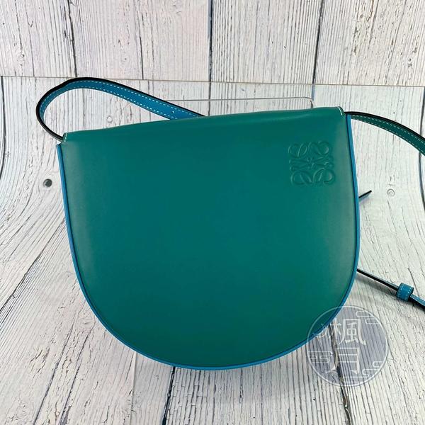 BRAND楓月 LOEWE 羅意威 藍綠色 湖水綠 拚色 HEEL 小款 斜背包 側背包 卡包